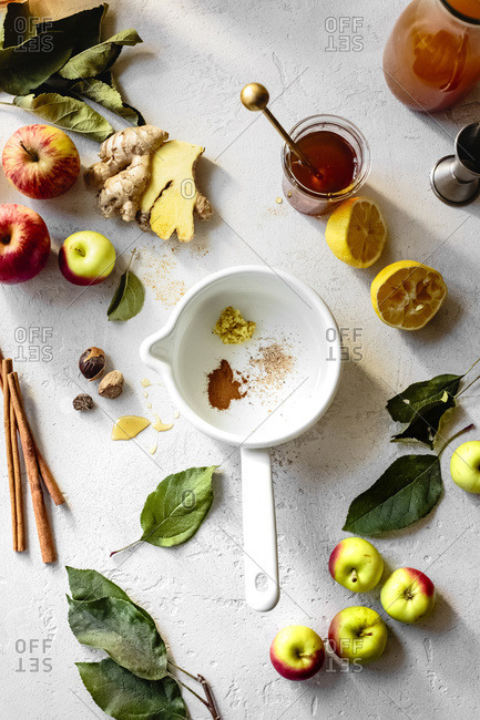 Ingredients for apple cider on a white textured background.