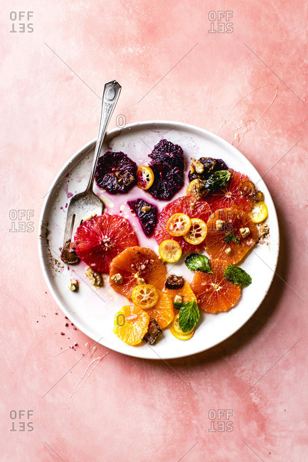 Citrus fruit salad with rosewater, dates, and walnuts.