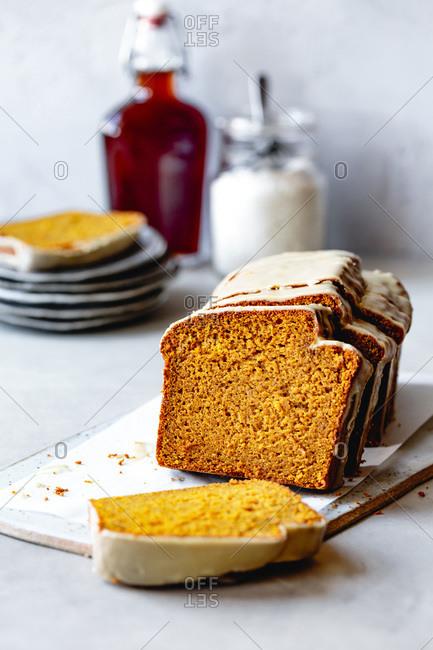 Pumpkin bread cut into slices.