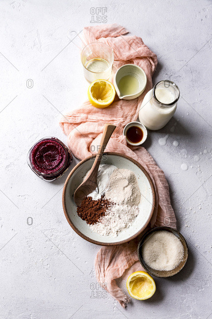 Ingredients for chocolate beet cake.