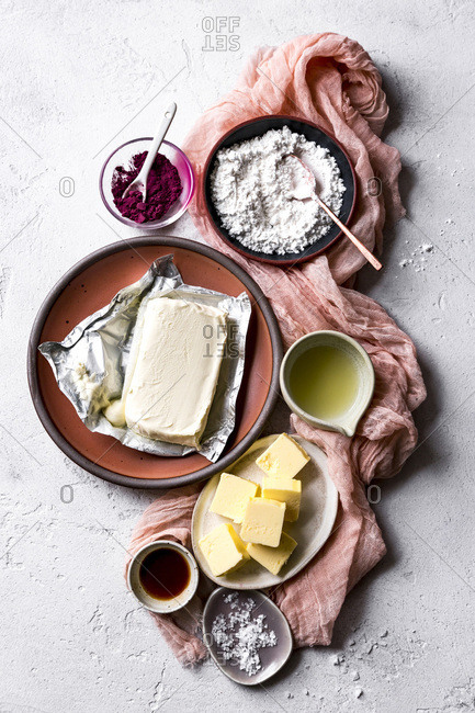 Ingredients for cream cheese frosting.