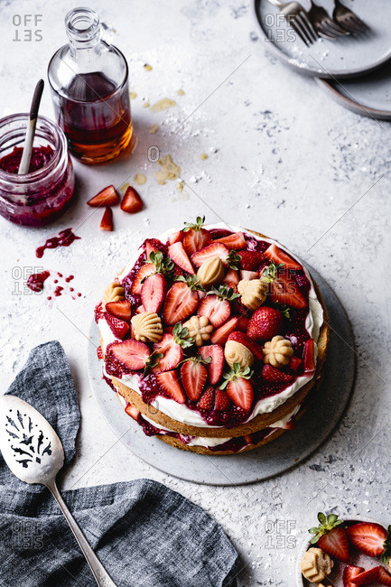 Gluten free strawberry maple cream cake.