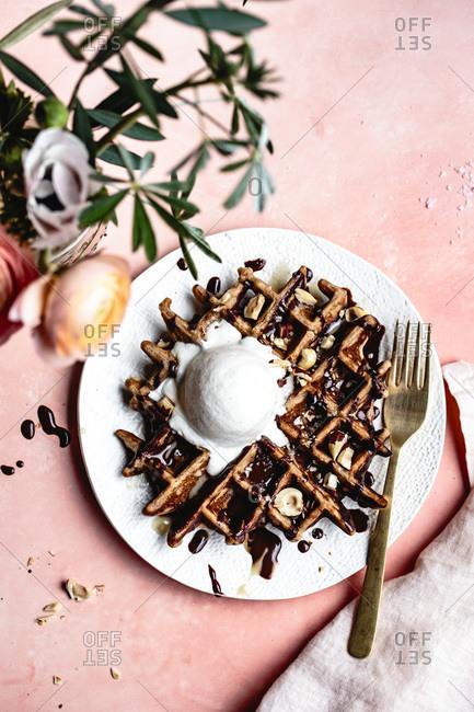 Homemade hot fudge waffle sundaes.
