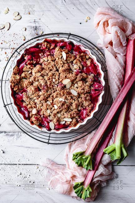 Rhubarb crisp in a baking dish.