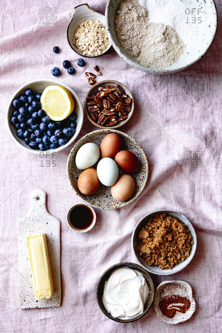 Ingredients for blueberry coffee cake.