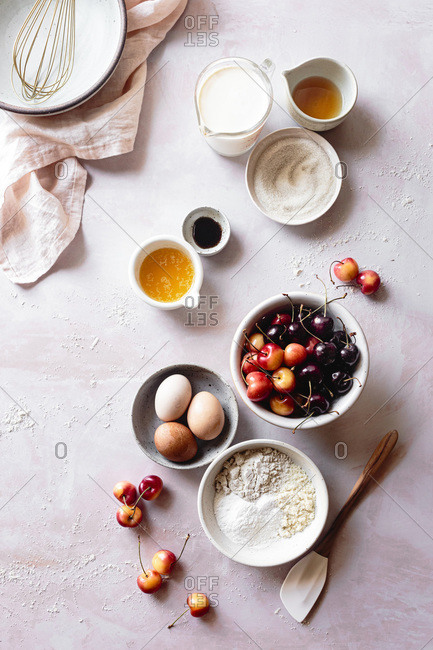 Ingredients for cherry clafoutis.
