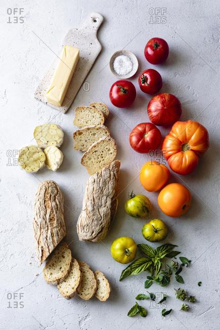 Ingredients for garlic bread bruschetta.