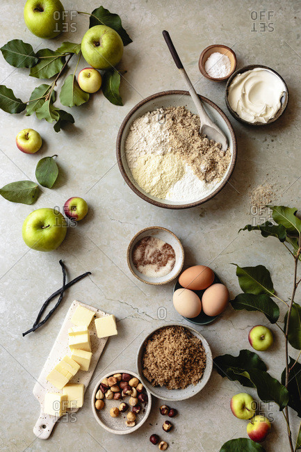 Overhead view of ingredients for apple cake.