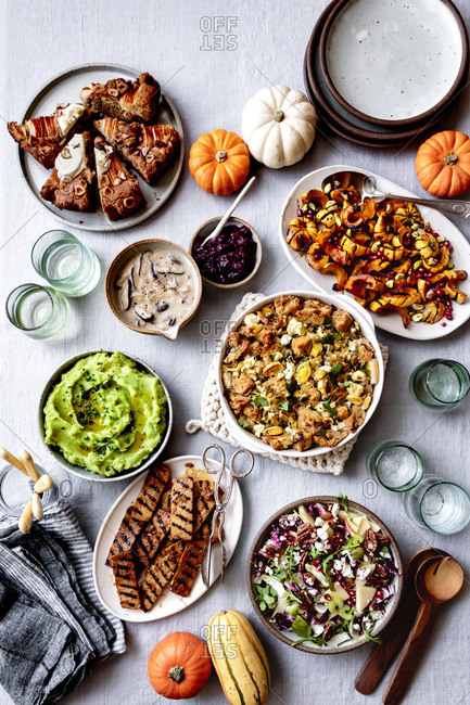 A selection of gluten free vegetarian dishes for thanksgiving dinner.