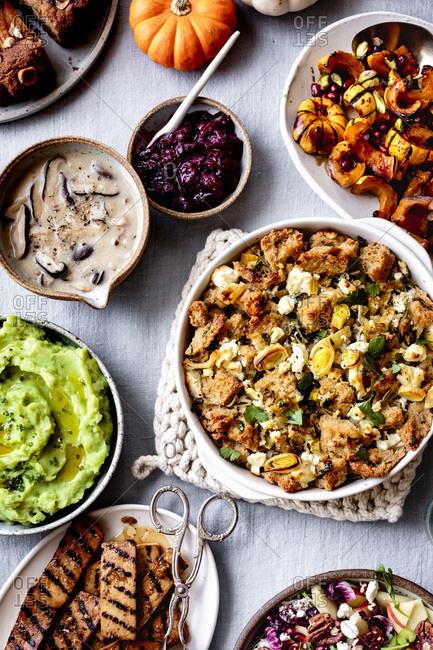 Savory vegetarian dishes for thanksgiving dinner.