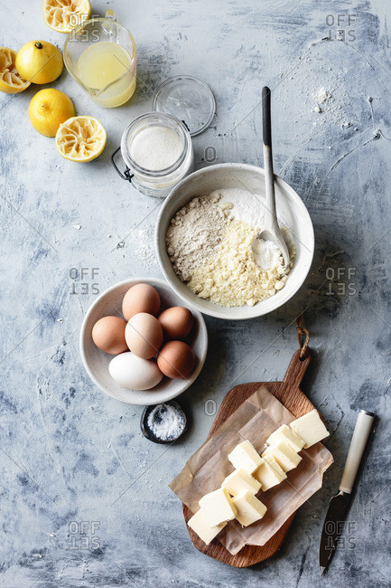 View from above of ingredients for lemon bars.