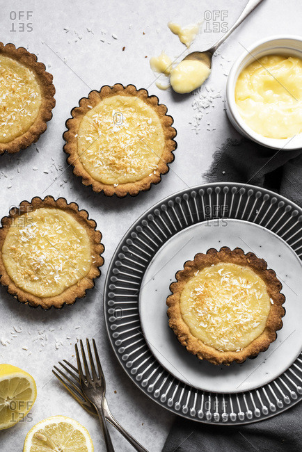 Lemon And Coconut Tartlets overhead view