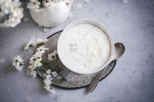 Yogurt sprinkled with shredded coconut served in a white ceramic bowl