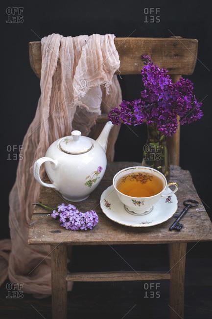 Tea served in vintage porcelain tea set