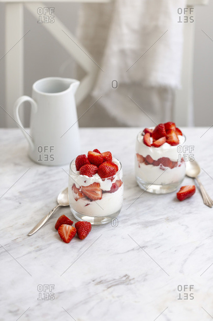 Strawberries and whipped cream dessert
