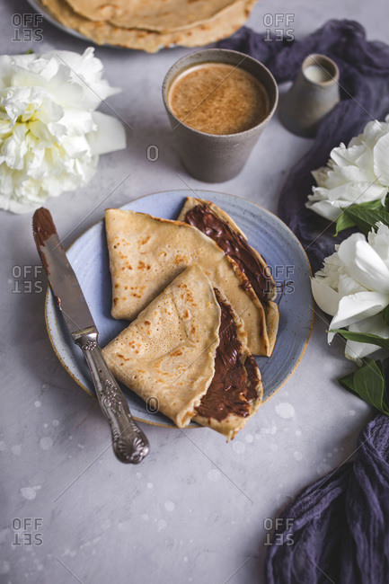 Crepes with chocolate spread