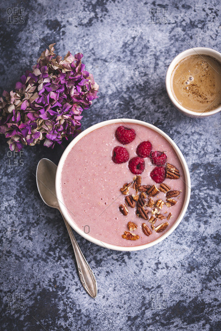 Raspberry smoothie bowl with fresh ingredients