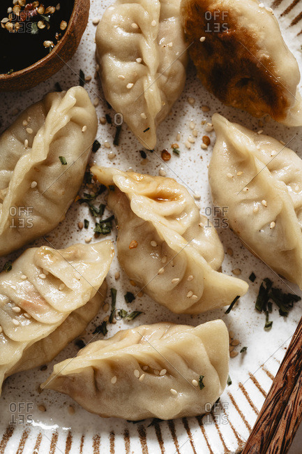 Closeup of pot stickers with chicken
