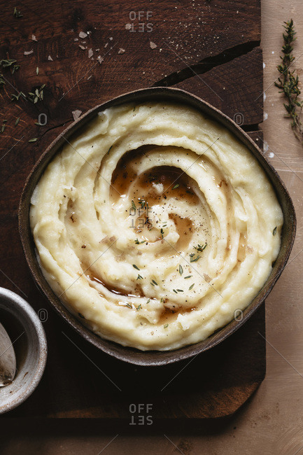 Closeup of mashed potatoes with brown butter