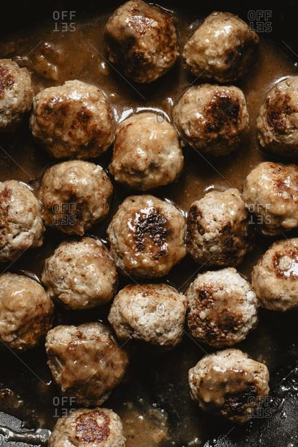 Closeup of Swedish meatballs - Offset