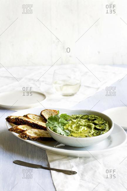 Roasted Jalapeno Cilantro Manchego Pesto with Crostini