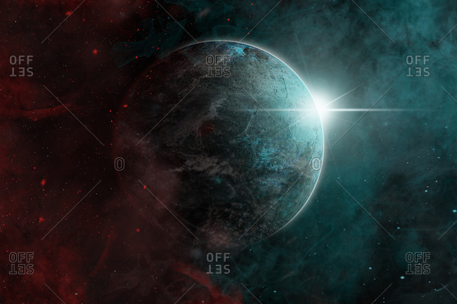 Spectacular outer space background including Earth planet with stars during sunrise