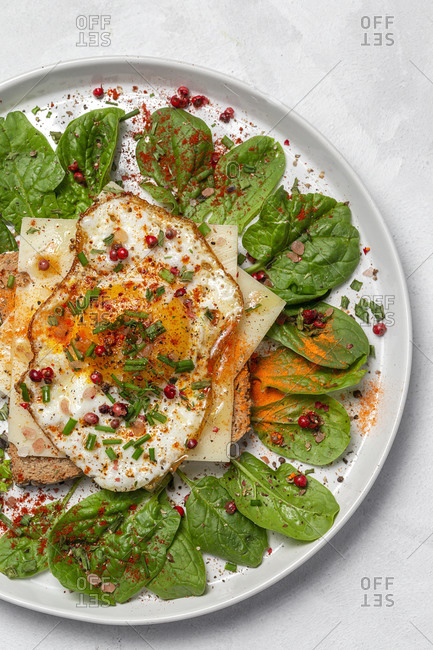Homemade toasted bread from above with fried egg, spinach and aromatic herbs on white background. Vegetarian food. Healthy food concept.