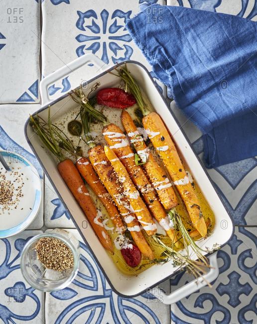 Roasted heritage carrots with sumac yogurt and sesame seeds