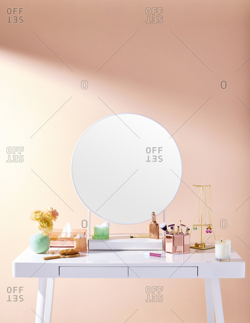 White Makeup Vanity with Beauty Products