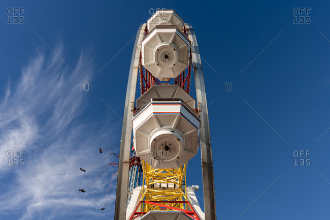 Low angle view of a Ferris wheel at an amusement park