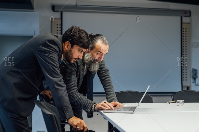 Business partners using laptop in office