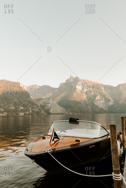 Motorboat moored at lake pier, Hallstatt, Upper Austria