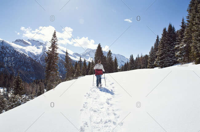 Teenage girl snowshoeing in snow covered mountain landscape, rear view, Styria, Tyrol, Austria