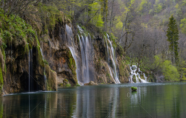 Scenic view of waterfall in national park, Plitvice, Sisacko-Moslavacka, Croatia