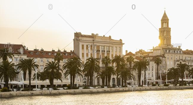 April 25, 2019: Panoramic view of town at sunrise, Split, Dalmatian Coast, Splitsko-Dalmatinska, Croatia