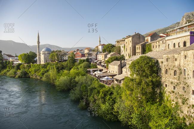 April 25, 2019: Mostar and the river Neretva, elevated view, Federation of Bosnia and Herzegovina, Bosnia and Herzegovina
