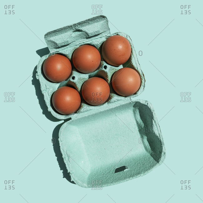 Studio shot of chicken eggs in turquoise colored carton