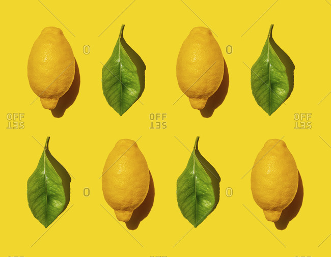 Pattern of ripe lemons and green leaves against yellow background