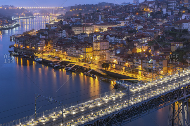 Decebmer 30, 2017: Portugal- Porto District- Porto- Aerial view ofDomLuis I Bridge at night