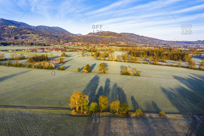 Germany- Bavaria- Bad Feilnbach- Aerial view of countryside fields and meadows in spring