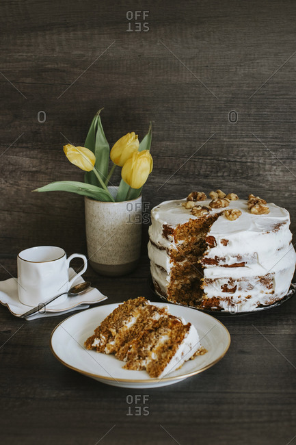 Homemade carrot cake- coffee and tulips