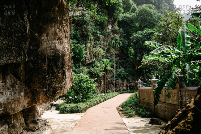 Amazing scenery of stone walkway leading through garden with mountain and exotic plants on sunny day in Vietnam