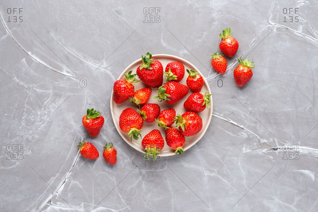 Overhead view of fresh strawberries