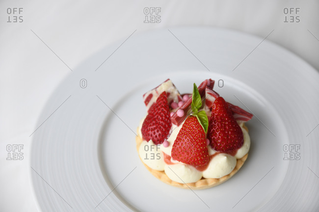 Overhead view of a gourmet strawberry pastry