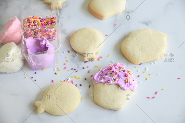 DIY sugar cookie kit with colorful sprinkles and frosting