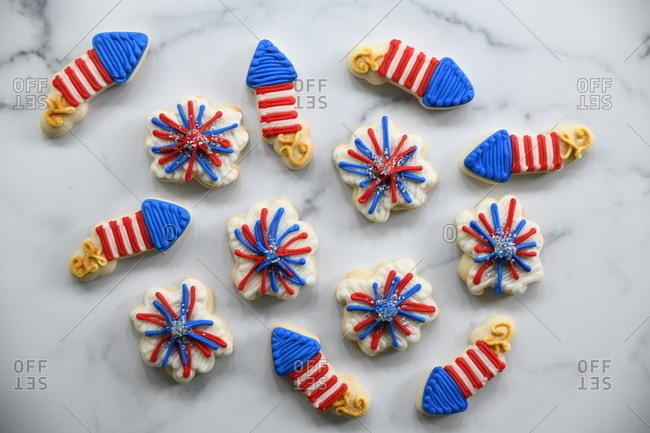 Firework sugar cookies with red, white and blue icing