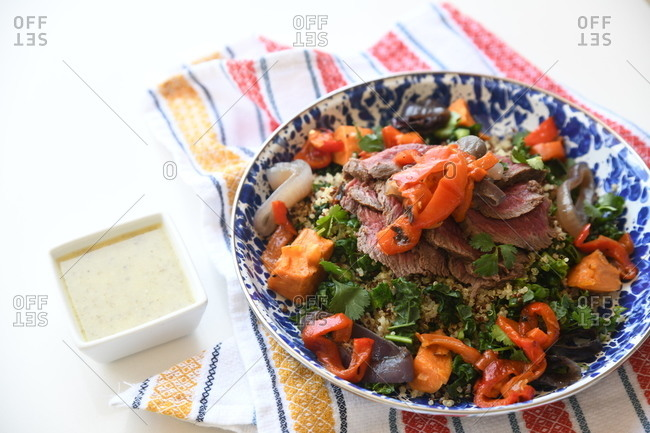 A gourmet beef and quinoa dish