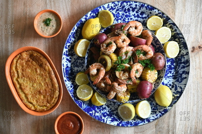 Shrimp boil with potatoes and corn