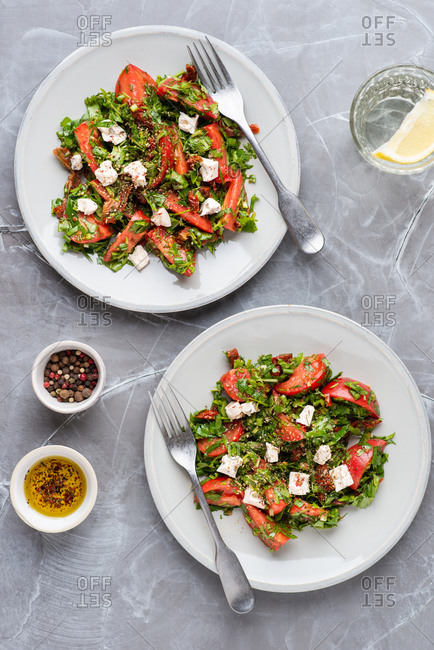 Tomato salad with fresh and sun dried tomatoes, herbs and cheese over gray background