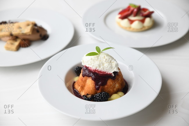 Gourmet desserts served in a restaurant with focus on blackberry treat